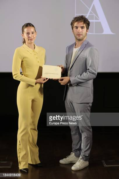 Actors Irene Escolar and Ricardo Gomez unveil the film that will represent our country in the next edition of the Oscars, 'The Good Patron', at a...