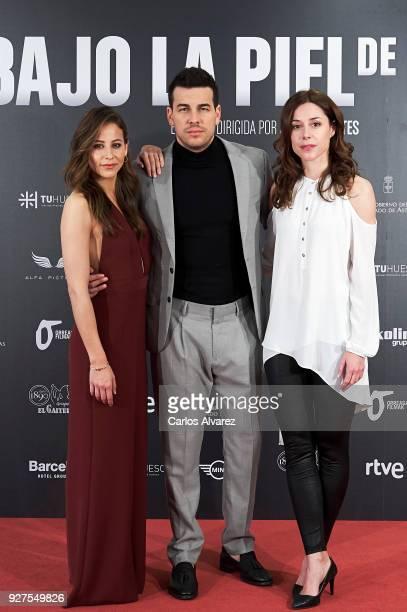 Actors Irene Escolar Mario Casas and Ruth Diaz attend 'Bajo La Piel Del Lobo' photocall at the Torre Barcelo Hotel on March 5 2018 in Madrid Spain