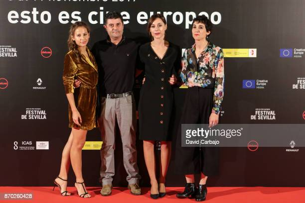 Actors Irene Escolar Samu Fuentes Ruth Diaz and Ana Ros attend the BAJO LA PILE DE LOBO photocall at the European film Festival of Seville on...