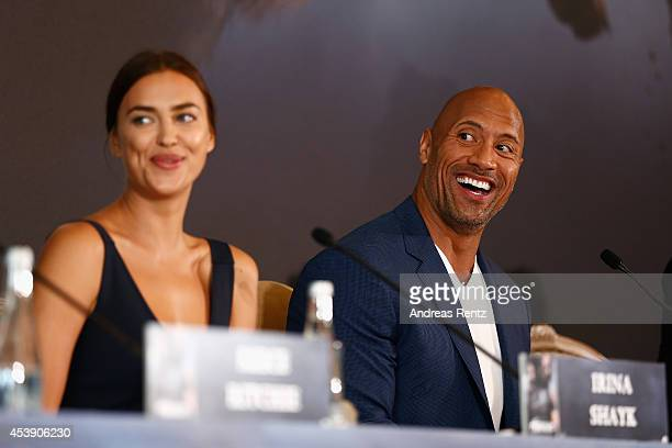 Actors Irina Shayk and Dwayne Johnson attend the press conference of Paramount Pictures 'HERCULES' at Hotel Adlon on August 21, 2014 in Berlin,...