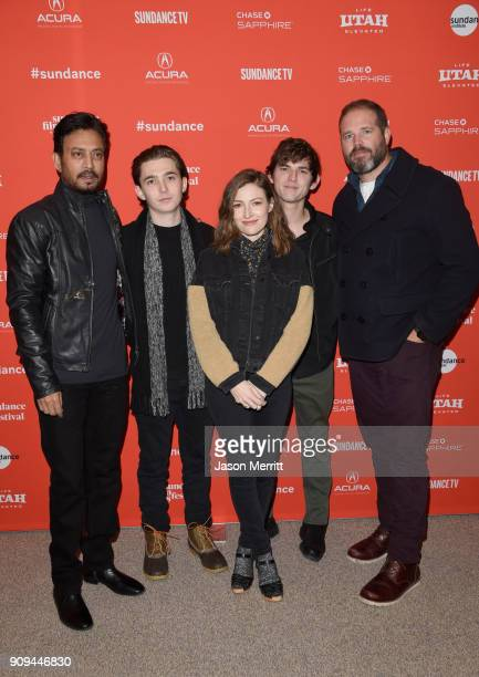 Actors Irrfan Khan Austin Abrams Kelly Macdonald Bubba Weiler and David Denman attend the 'Puzzle' Premiere at Eccles Center Theatre during the 2018...