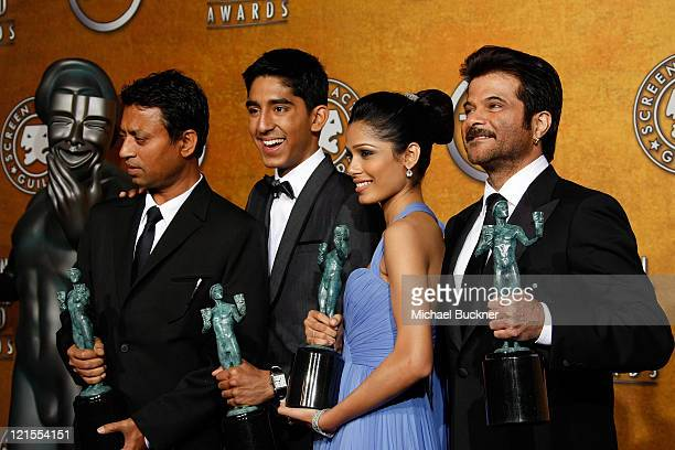 Actors Irrfan Khan, Dev Patel, Freida Pinto, and Anil Kapoor in the Press Room at the TNT/TBS broadcast of the 15th Annual Screen Actors Guild Awards...