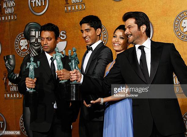 Actors Irrfan Khan, Dev Patel, Freida Pinto and Anil Kapoor in the Press Room at the TNT/TBS broadcast of the 15th Annual Screen Actors Guild Awards...