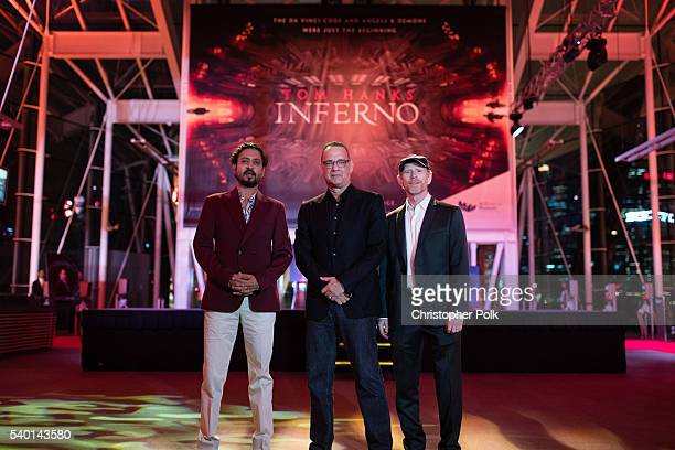 Actors Irrfan Khan Tom Hanks and director Ron Howard attend the Inferno red carpet and photo call at the ArtScience Museum at Marina Bay Sands on...