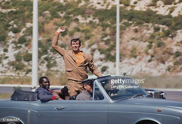Actors Irvin Allen and George Lazenby on the set of the James Bond film 'On Her Majesty's Secret Service' on location in Portugal 1969