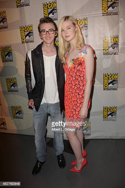 Actors Isaac Hempstead Wright and Elle Fanning attend the The Boxtrolls panel during ComicCon International 2014 at San Diego Convention Center on...