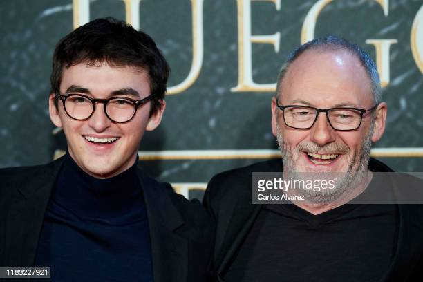 Actors Isaac Hempstead-Wright and Liam Cunningham attend 'Game Of Thrones' official exhibition presentation at IFEMA on October 24, 2019 in Madrid,...