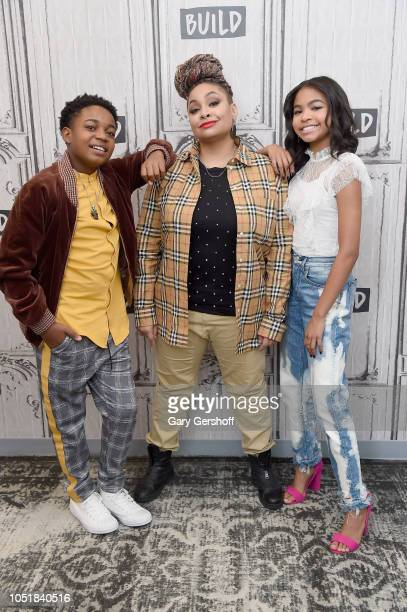 Actors Isaac Ryan Brown RavenSymone and Navia Robinson visit Build Studio to discuss the Disney Channel show 'Raven's Home' at Build Studio on...