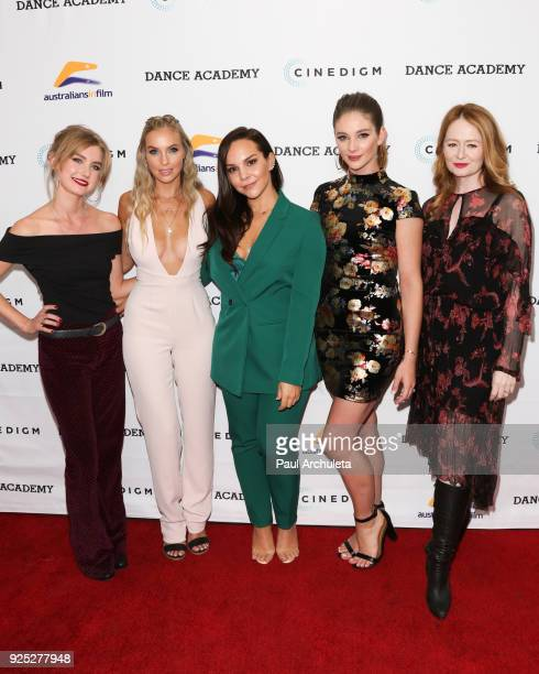 Actors Isabel Durant Alicia Banit Dena Kaplan Xenia Goodwin and Miranda Otto attend the premiere of 'Dance Academy The Comeback' at Raleigh Studios...