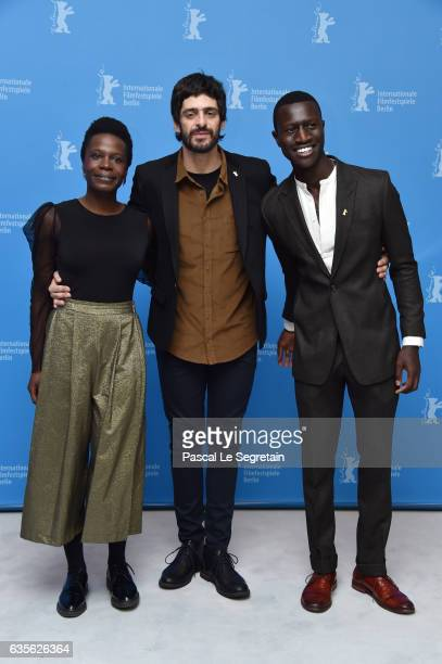 Actors Isabel Zuaa Julio Machado and Welket Bungue attend the 'Joaquim' photo call during the 67th Berlinale International Film Festival Berlin at...
