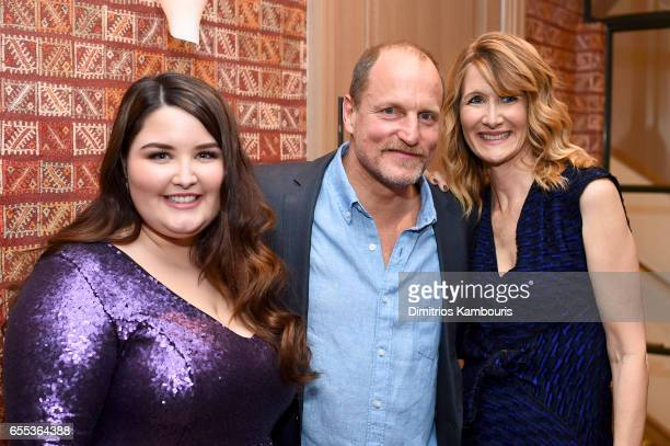 Actors Isabela Amara Woody Harrelson and Laura Dern attend the After Party for the 'Wilson' New York Screening at the Whitby Hotel on March 19 2017...