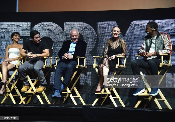 Actors Isabela Moner Mark Wahlberg Anthony Hopkins Laura Haddock and Jerrod Carmichael speak onstage at CinemaCon 2017 Paramount Pictures...