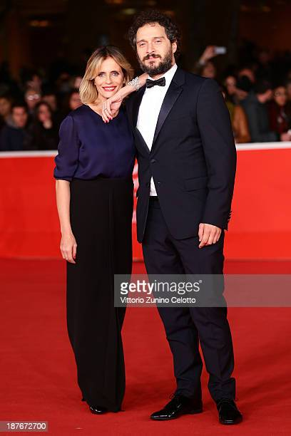 Actors Isabella Ferrari and Claudio Santamaria attend 'Il Venditore Di Medicine' Premiere during The 8th Rome Film Festival at Auditorium Parco Della...