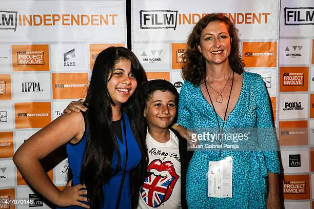 Actors Isabella Luna and Martin Simone with director MaryLyn Chambers attend the Project Involve shorts after party during the 2015 Los Angeles Film...