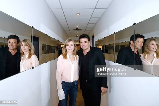 Actors Isabelle Carre and Patrick Bruel present the Movie 'Ange et Gabrielle' during the 'Vivement Dimanche' French TV Show at Pavillon Gabriel on...