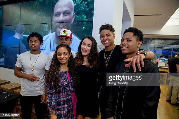 Actors Isaiah K John Michael Rainey Jr Torion Sellers and Diallo Thompson pose for pictures with members of the audience during their 'Meet Greet'...