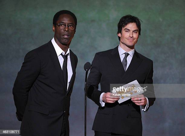 Actors Isaiah Washington and Ian Somerhalder speak onstage during the 19th Annual Critics' Choice Movie Awards at Barker Hangar on January 16 2014 in...