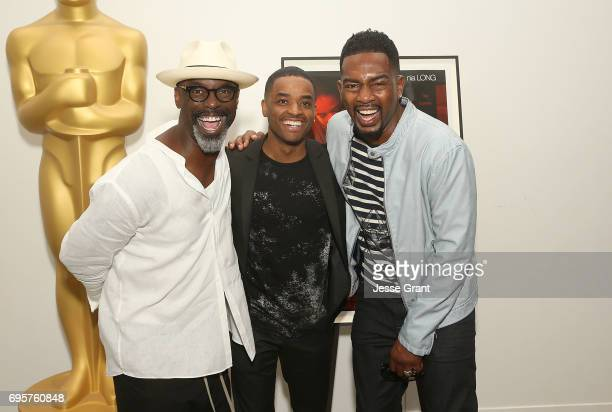 Actors Isaiah Washington Larenz Tate and Bill Bellamy attend The Academy of Motion Picture Arts and Sciences' 20th Anniversary Celebration of Love...