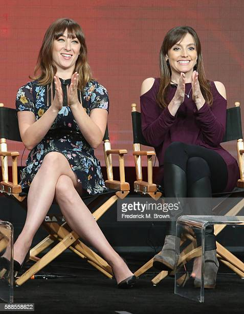 """Actors Isidora Goreshter and executive producer """"Shameless"""" Nancy M. Pimental speak onstage at 'Love & Marriage on TV' panel discussion during the..."""
