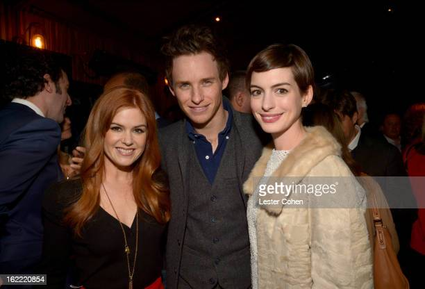 Actors Isla Fisher Eddie Redmayne and Anne Hathaway attend Vanity Fair and the Chrysler brand Celebration of Les Misérables in support of The Los...