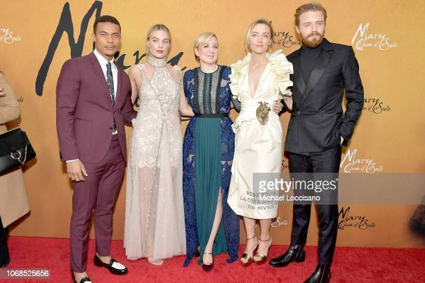 Actors Ismael Cruz Cordova and Margot Robbie director Josie Rourke and actors Saoirse Ronan and Jack Lowden attend the New York premiere of Mary...