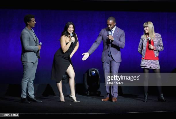 Actors Ismael Cruz Cordova Gina Rodriguez Anthony Mackie and Director Catherine Hardwicke speak onstage during the CinemaCon 2018 Gala Opening Night...