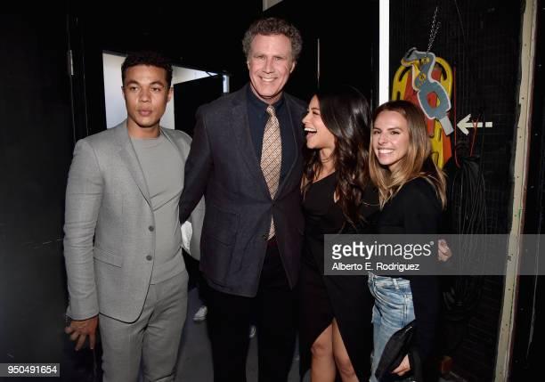 Actors Ismael Cruz Cordova Will Ferrell Gina Rodriguez and make up artist Carissa Ferreri attend the CinemaCon 2018 Gala Opening Night Event Sony...