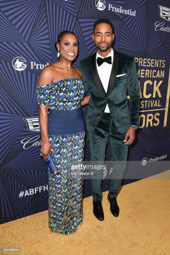 Actors Issa Rae (L) and Jay Ellis attend BET Presents the American Black Film Festival Honors on February 17, 2017 in Beverly Hills, California.