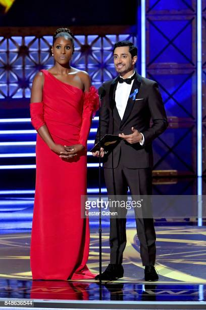 Actors Issa Rae and Riz Ahmed speak onstage during the 69th Annual Primetime Emmy Awards at Microsoft Theater on September 17 2017 in Los Angeles...