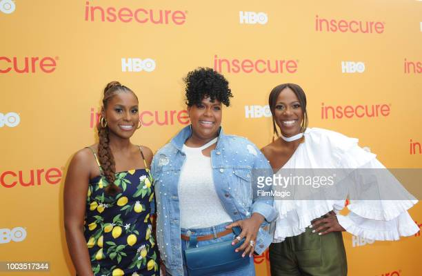 Actors Issa Rae Natasha Rothwell and Yvonne Orji attend HBO's Insecure Block Party at Banc of California Stadium on July 21 2018 in Los Angeles...