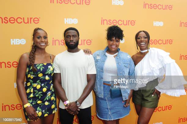 Actors Issa Rae Y'lan Noel Natasha Rothwell and Yvonne Orji attend HBO's Insecure Block Party at Banc of California Stadium on July 21 2018 in Los...