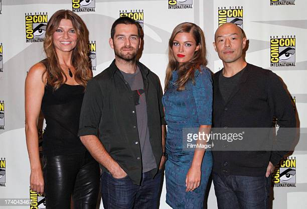 Actors Ivana Milicevic Antony Starr Lili Simmons and Hoon Lee speak onstage at Cinemax's Banshee Panel at San Diego Convention Center on July 19 2013...