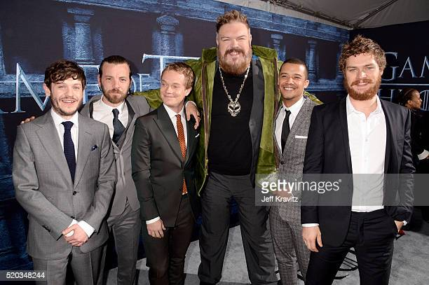Actors Iwan Rheon Gethin Anthony Alfie Allen Kristian Nairn Jacob Anderson and Finn Jones attend the premiere for the sixth season of HBO's 'Game Of...