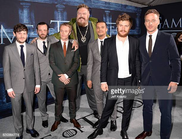 Actors Iwan Rheon Gethin Anthony Alfie Allen Kristian Nairn Jacob Anderson Finn Jones and Tom Wlaschiha attend the premiere for the sixth season of...