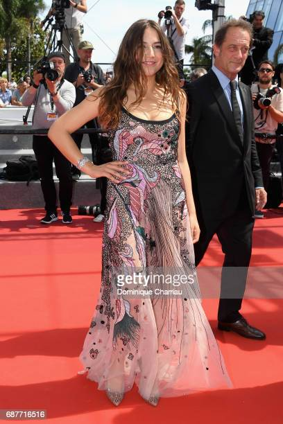 Actors Izia Higelin and Vincent Lindon attend the 'Rodin' screening during the 70th annual Cannes Film Festival at Palais des Festivals on May 24...