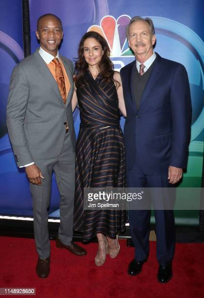 Actors J August Richards Sarah Wayne Callies and Michael O'Neill attend the NBC 2019/20 Upfront at Four Seasons Hotel New York on May 13 2019 in New...