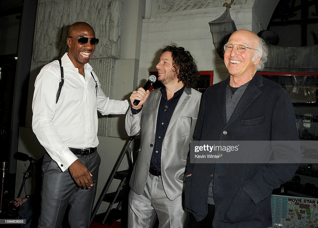 Actors J. B. Smoove, Jeffrey Ross, and Larry David attend the premiere of Relativity Media's 'Movie 43' at TCL Chinese Theatre on January 23, 2013 in Hollywood, California.