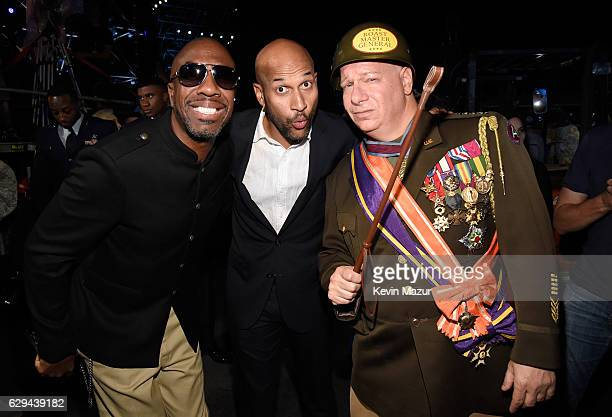 Actors J B Smoove KeeganMichael Key and comedian Jeff Ross are seen backstage at 'Spike's Rock the Troops' event held at Joint Base Pearl Harbor...