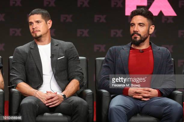 Actors J D Pardo and Clayton Cardenas speak onstage at the 'Mayans MC' panel during the FX Network portion of the Summer 2018 TCA Press Tour at The...