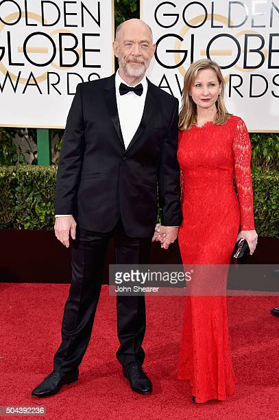 Actors J K Simmons and Michelle Schumacher attend the 73rd Annual Golden Globe Awards held at the Beverly Hilton Hotel on January 10 2016 in Beverly...
