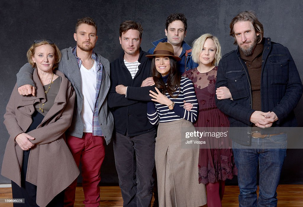 Actors J. Smith-Cameron, Clayne Crawford, Aden Young, Abigail Spencer, Luke Kirby, Adelaide Clemens, and creator Raymond McKinnon pose for a portrait during the 2013 Sundance Film Festival at the WireImage Portrait Studio at Village At The Lift on January 18, 2013 in Park City, Utah.