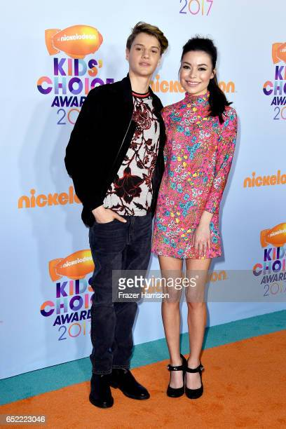 Actors Jace Norman and Miranda Cosgrove at Nickelodeon's 2017 Kids' Choice Awards at USC Galen Center on March 11 2017 in Los Angeles California