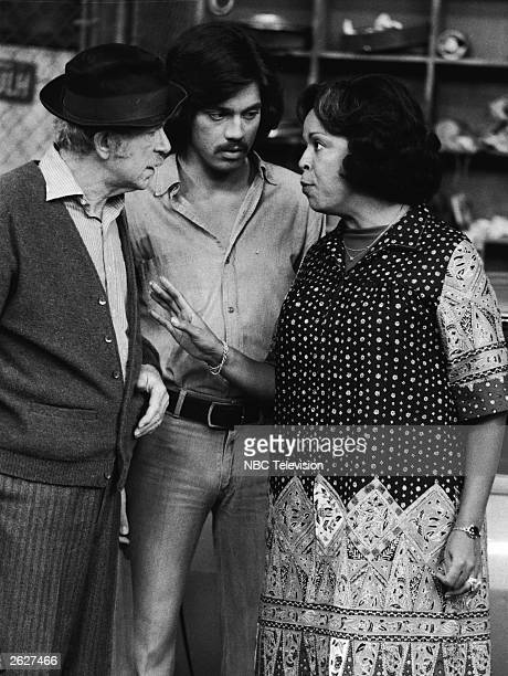 Actors Jack Albertson Freddie Prinze and Della Reese talk in a still from the television series 'Chico And The Man' circa 1975