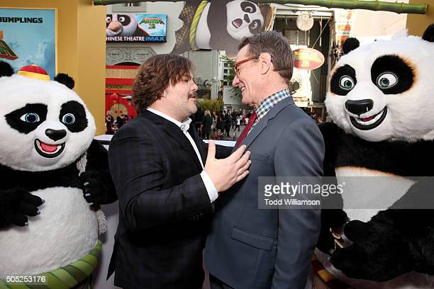 Actors Jack Black and Bryan Cranston attend the premiere of DreamWorks Animation and Twentieth Century Fox's 'Kung Fu Panda 3' at the TCL Chinese...