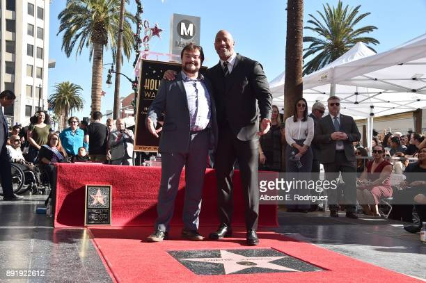 Actors Jack Black and Dwayne Johnson attend a ceremony honoring Dwayne Johnson with the 2624th star on the Hollywood Walk of Fame on December 13 2017...