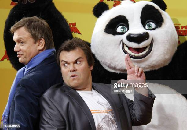 Actors Jack Black and Hape Kerkeling attend the 'Kung Fu Panda 2' Germany Premiere at the Cinemaxx movie theater on June 7 2011 in Berlin Germany