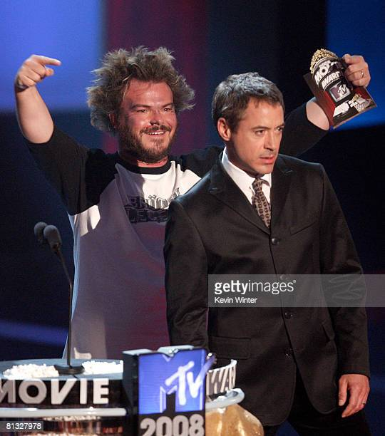 Actors Jack Black and Robert Downey Jr present during the 17th annual MTV Movie Awards held at the Gibson Amphitheatre on June 1 2008 in Universal...
