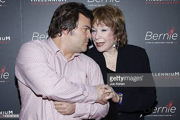 Actors Jack Black and Shirley MacLaine arrive at the premiere Of Bernie at ArcLight Cinemas on April 18 2012 in Hollywood California