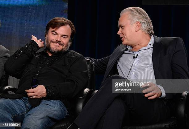 "Actors Jack Black and Tim Robbins speak onstage during ""The Brink"" panel as part of the 2015 HBO Winter Television Critics Association press tour at..."