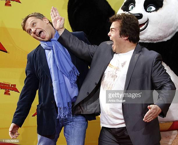 Actors Jack Black RL and Hape Kerkeling attend the 'Kung Fu Panda 2' Germany Premiere at the Cinemaxx movie theater on June 7 2011 in Berlin Germany